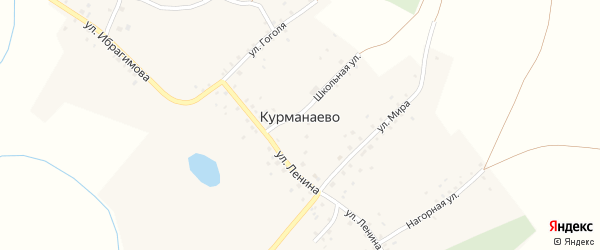 Школьная улица на карте деревни Курманаево с номерами домов