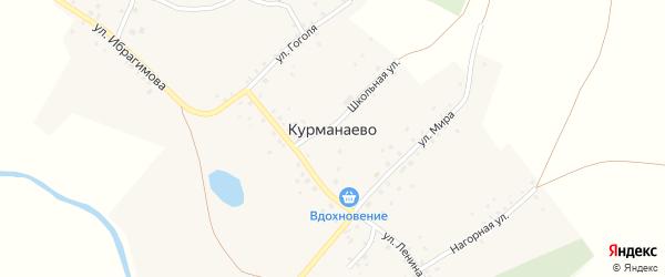 Нагорная улица на карте деревни Курманаево с номерами домов