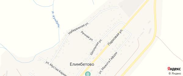Речная улица на карте села Елимбетово с номерами домов