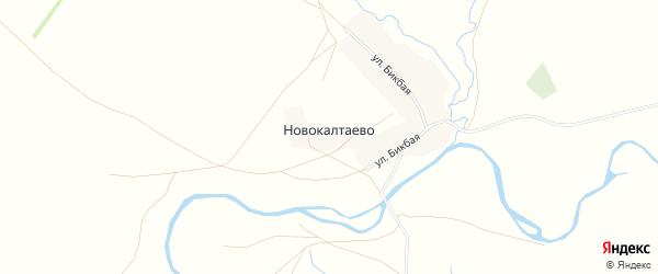 Карта деревни Новокалтаево в Башкортостане с улицами и номерами домов