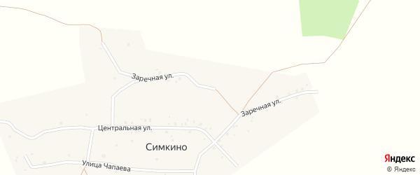 Заречная улица на карте села Симкино с номерами домов