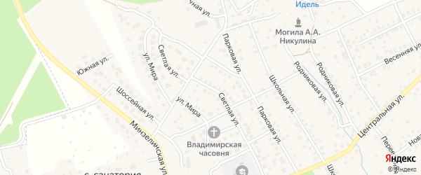 Светлая улица на карте деревни Юматово с номерами домов