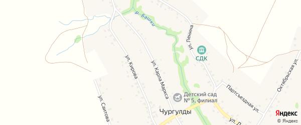 Улица Саитова на карте села Чургулды с номерами домов