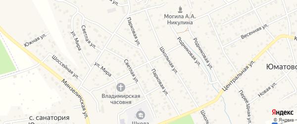 Парковая улица на карте деревни Юматово с номерами домов