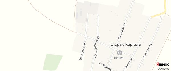 Береговая улица на карте деревни Старые Каргалы с номерами домов
