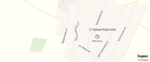 Партизанская улица на карте деревни Старые Каргалы с номерами домов