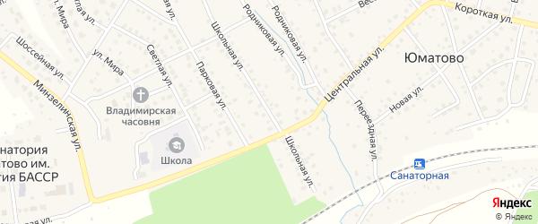 Школьная улица на карте деревни Юматово с номерами домов