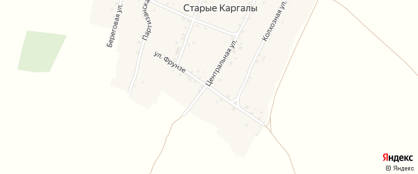 Улица Фрунзе на карте деревни Старые Каргалы с номерами домов