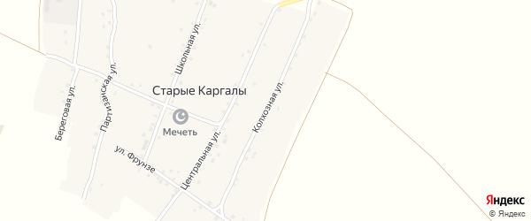 Колхозная улица на карте деревни Старые Каргалы с номерами домов