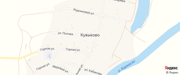 Улица Попова на карте села Кувыково с номерами домов