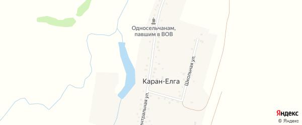 Центральная улица на карте села Карана-Елги с номерами домов