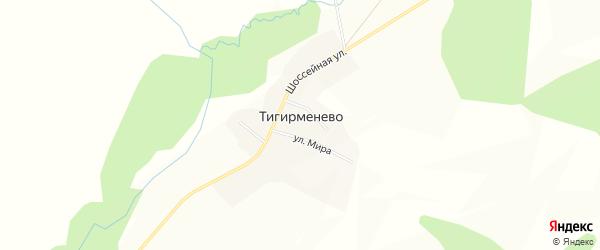 Карта деревни Тигирменево в Башкортостане с улицами и номерами домов