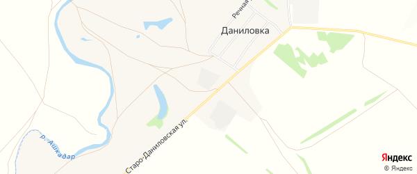 Карта деревни Даниловки в Башкортостане с улицами и номерами домов