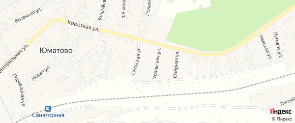 Сельская улица на карте деревни Юматово с номерами домов