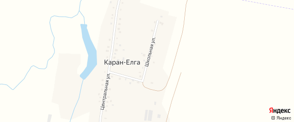 Школьная улица на карте села Карана-Елги с номерами домов