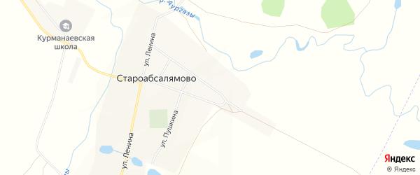 Территория Юго-восточная окраина на карте села Староабсалямово с номерами домов