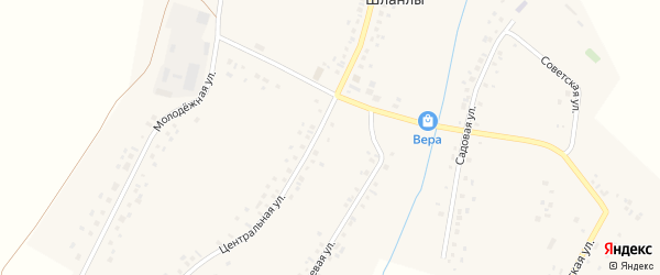 Центральная улица на карте села Шланлы с номерами домов