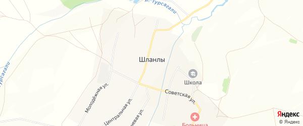 Карта села Шланлы в Башкортостане с улицами и номерами домов