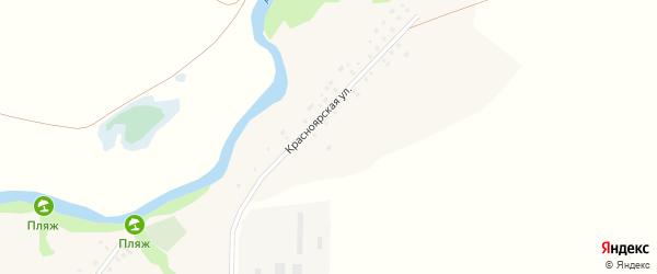 Красноярская улица на карте деревни Даниловки с номерами домов