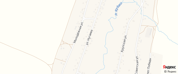 Улица Нугаева на карте села Верхнекудашево с номерами домов