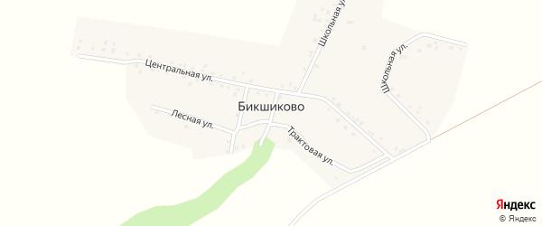 Школьная улица на карте деревни Бикшиково с номерами домов
