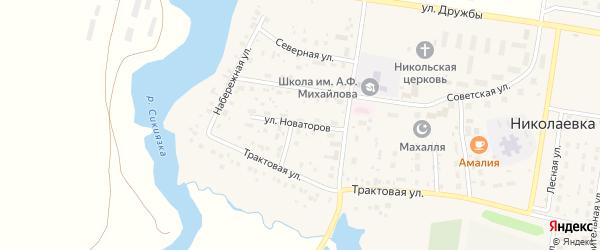 Улица Новаторов на карте деревни Николаевки с номерами домов