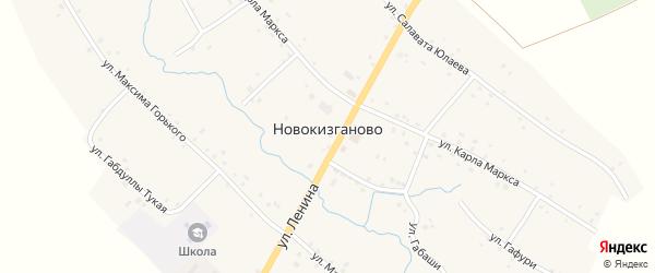 Улица Ю.Гагарина на карте деревни Новокизганово с номерами домов