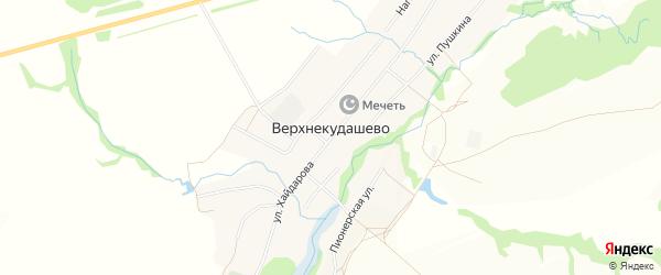 Карта села Верхнекудашево в Башкортостане с улицами и номерами домов