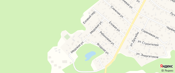 Медовая улица на карте деревни Уптино с номерами домов