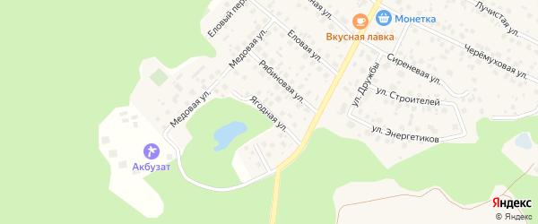 Ягодная улица на карте деревни Уптино с номерами домов
