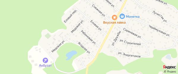 Рябиновая улица на карте деревни Уптино с номерами домов