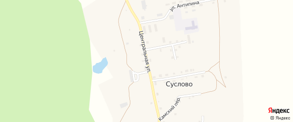 Центральная улица на карте села Суслово с номерами домов