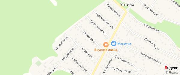 Снежная улица на карте деревни Уптино с номерами домов