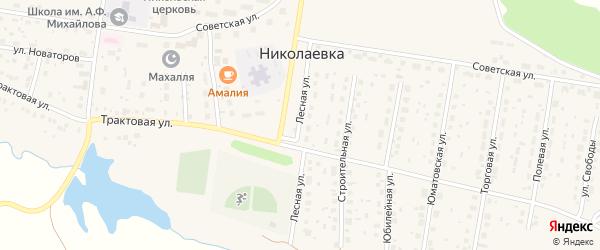 Лесная улица на карте деревни Николаевки с номерами домов