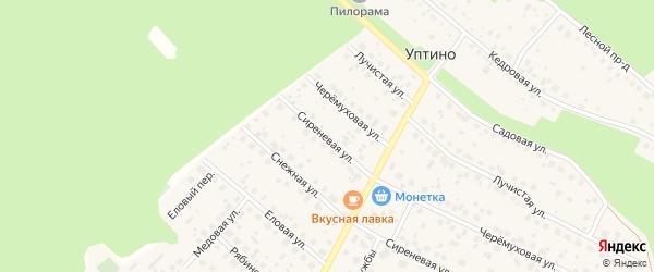 Сиреневая улица на карте деревни Уптино с номерами домов