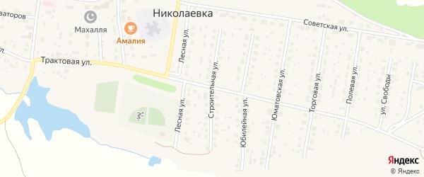 Строительная улица на карте деревни Николаевки с номерами домов