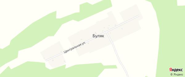 Центральная улица на карте деревни Буляка с номерами домов