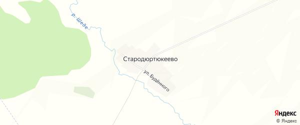Карта деревни Стародюртюкеево в Башкортостане с улицами и номерами домов