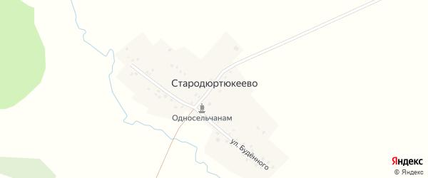 Улица Буденного на карте деревни Стародюртюкеево с номерами домов