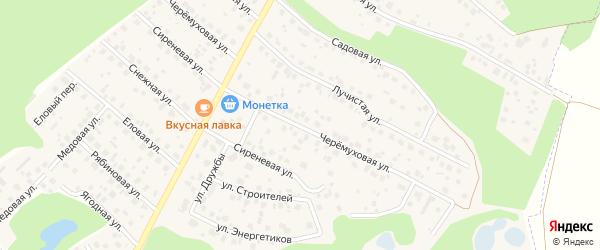 Черемуховая улица на карте деревни Уптино с номерами домов