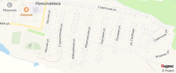 Юматовская улица на карте деревни Николаевки с номерами домов