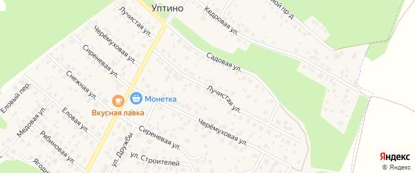 Лучистая улица на карте деревни Уптино с номерами домов