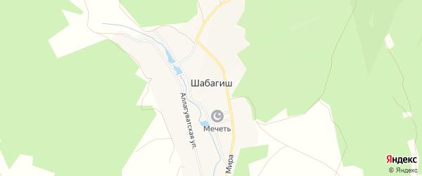 Карта деревни Шабагиша в Башкортостане с улицами и номерами домов
