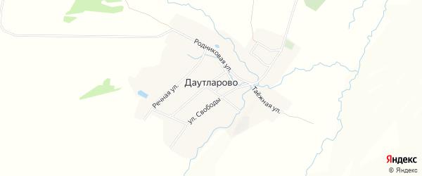 Карта деревни Даутларово в Башкортостане с улицами и номерами домов