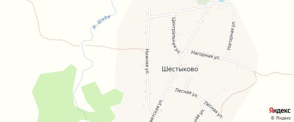 Нижняя улица на карте села Шестыково с номерами домов
