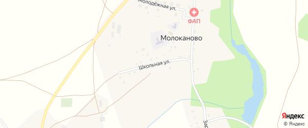 Школьная улица на карте села Молоканово с номерами домов
