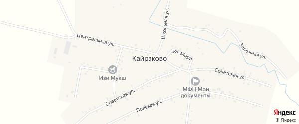 Заречная улица на карте деревни Кайраково с номерами домов
