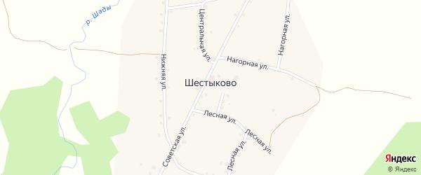 Центральная улица на карте села Шестыково с номерами домов