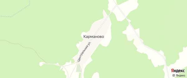 Карта деревни Карманово в Башкортостане с улицами и номерами домов