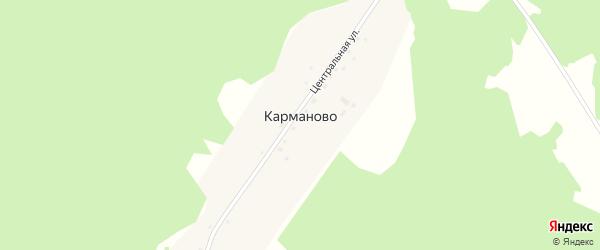 Центральная улица на карте деревни Карманово с номерами домов